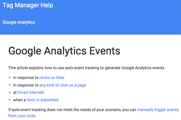 google tag manager events