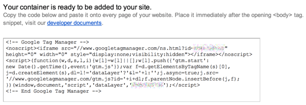 google tag manager code snippet example