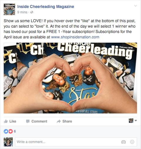Facebook-Seitenbeitrag, der Reaktionen mit einem Wettbewerb kombiniert