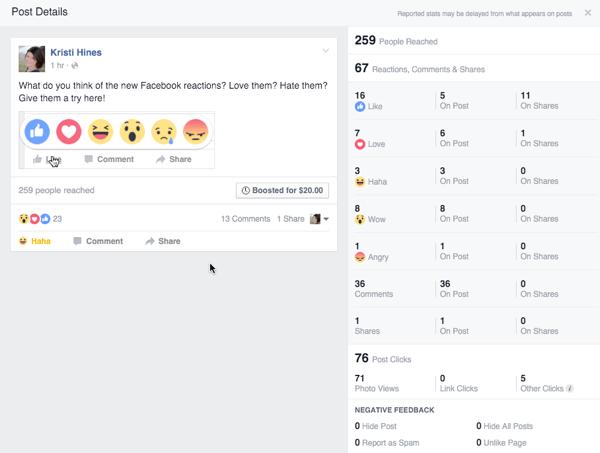 Facebook Reaktionen Engagement von der Post