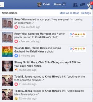 Facebook-Reaktionen in Benachrichtigungen