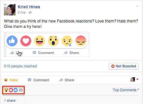Facebook-Reaktionen auf einen Beitrag