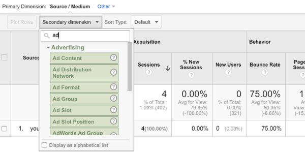 Spalte zu Google Analytics hinzufügen