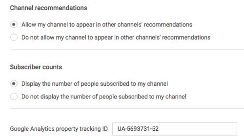 Google Analytics-Tracking-ID in den YouTube-Einstellungen