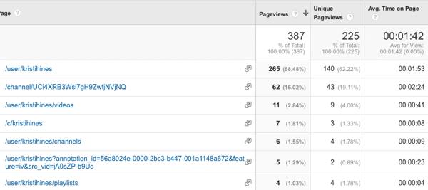 Verkehr zum YouTube-Kanal in Google Analytics