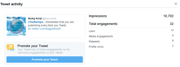 Click a tweet to see more engagement data in Twitter Analytics.