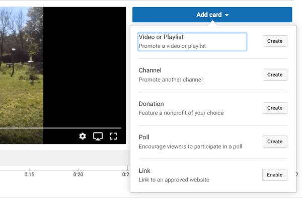 Sie können aus fünf Arten von YouTube-Karten auswählen.