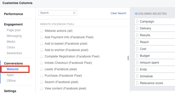 Add standard event actions to your Facebook Ads Manager reporting.