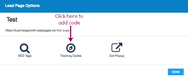 Click Tracking Codes in Leadpages.