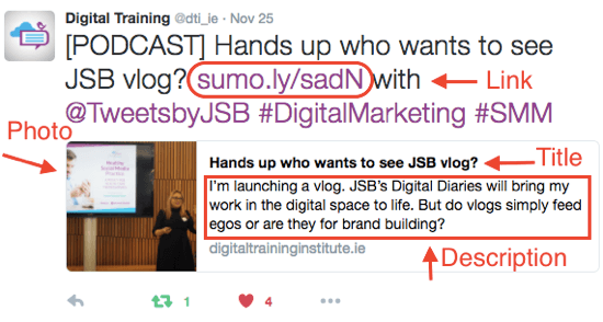 Consider how your article link will appear when you share it on Twitter.