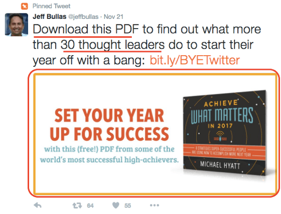 Jeff Bullas uses an engaging Twitter image to encourage downloads of his ebook.