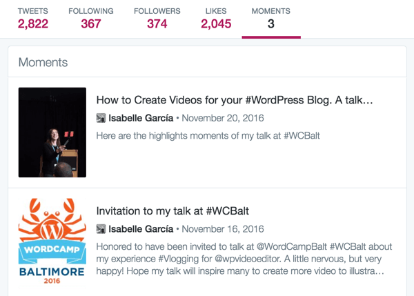 Create a Twitter moment from a recent talk.