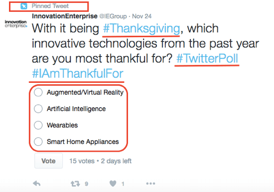 Use a Twitter poll to ask for input from your Twitter followers.