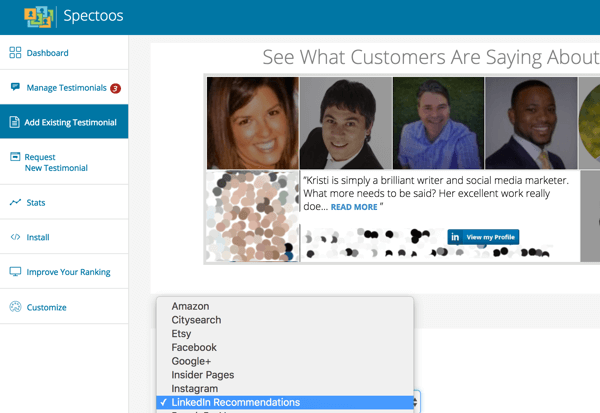 Spectoos makes it easy to display testimonials from various social media channels and other sources.
