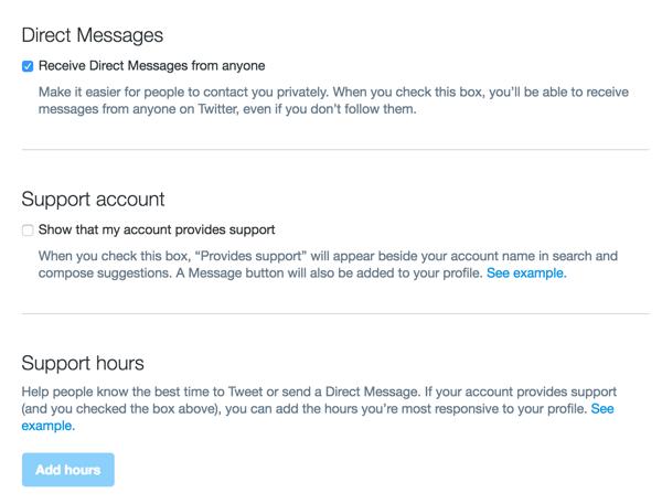 Sie können die Einstellungen für Direktnachrichten auch in Ihrem Twitter-Dashboard konfigurieren.