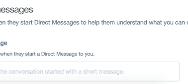 Ihre Begrüßungsnachricht wird angezeigt, wenn Kunden eine direkte Nachricht an Sie auf Twitter senden.