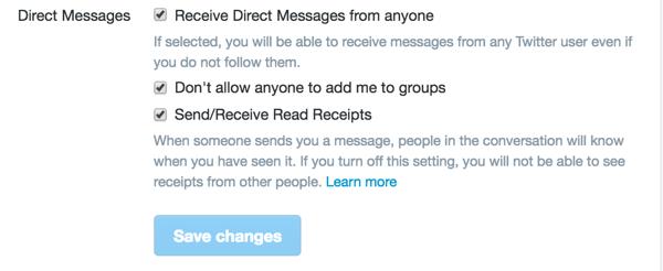 In Ihren Twitter-Sicherheits- und Datenschutzeinstellungen finden Sie drei Optionen für Direktnachrichten.