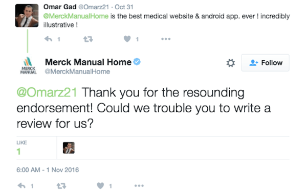 Merck Manual Home encourages a customer to leave a review for their app.