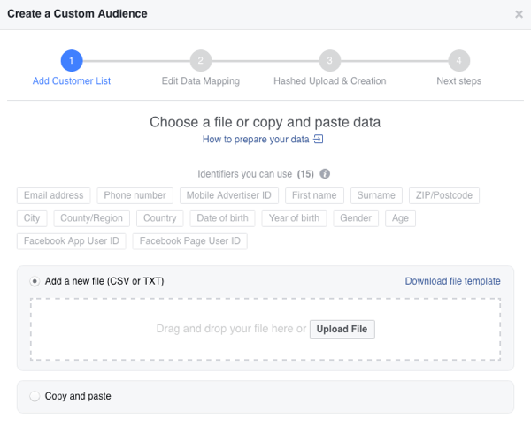 Upload your email list as a CSV file to create your custom email audience on Facebook.