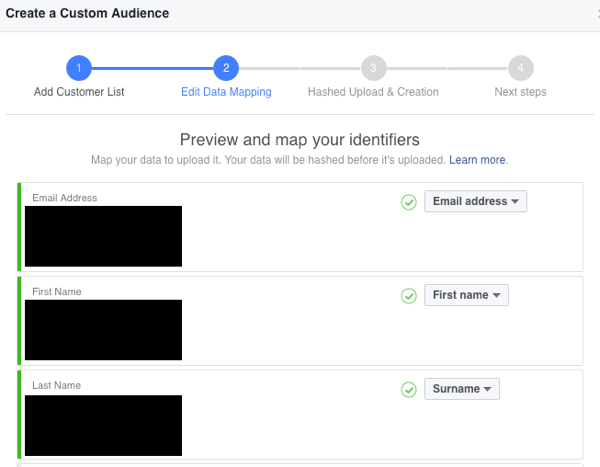 Select the identifiers you want to map for your custom email audience.