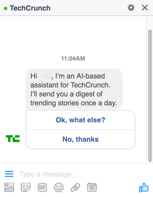 When you design your Facebook Messenger chatbot, you give users options to help guide them through your menus.