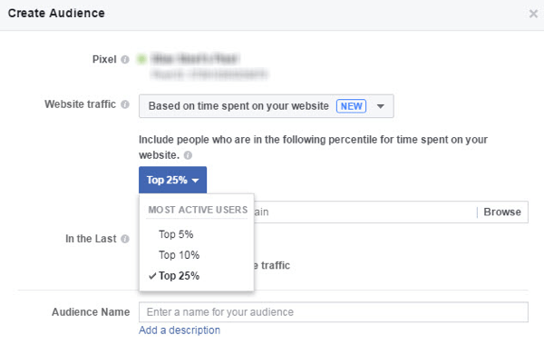 Create a Facebook custom audience of people who spend the most time on your website.