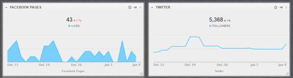 Cyfe zeigt Social Media-Metriken für alle Ihre sozialen Netzwerke in einem Dashboard an.