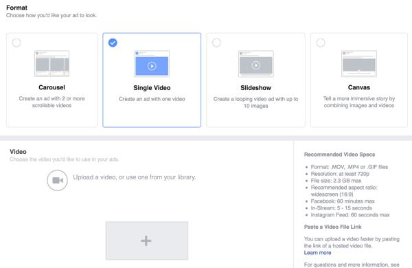 Seleccionar vídeo único como el formato de anuncio de Facebook y luego subir el vídeo.