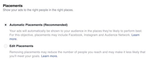 Seleccione ubicaciones para los anuncios de Facebook.