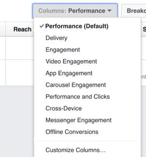 Haga clic en las columnas de la lista desplegable de opciones para cambiar las columnas que aparecen en los anuncios de Facebook Manager.