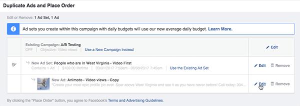 Haga clic en el enlace Editar a la derecha de su nuevo conjunto de anuncios de Facebook.