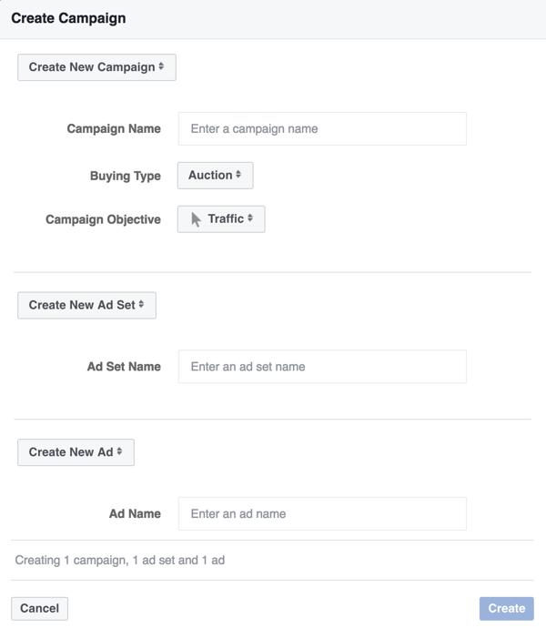 Elija el objetivo de la campaña de Tráfico para su anuncio de Facebook Messenger.
