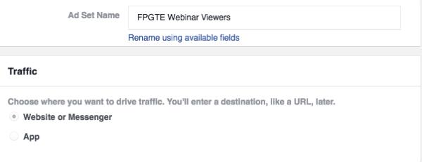 Choose the Website or Messenger option under Traffic.