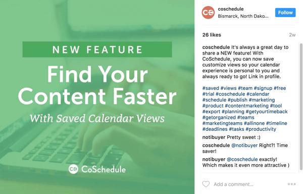 Zeigen Sie in der Beschriftung auf den Link zum Blog-Beitrag in Ihrer Instagram-Biografie.