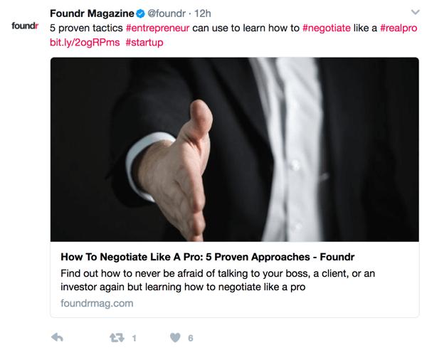 Das Einfügen von Hashtags in Ihre Tweets verbessert die Erkennbarkeit.