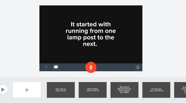 Fügen Sie Ihren Folien in Adobe Spark-Video Ihren Blog-Hervorhebungstext hinzu.