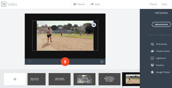 In Adobe Spark können Sie eine Vorlage auswählen und mit Text, Bildern und Videoclips anpassen.