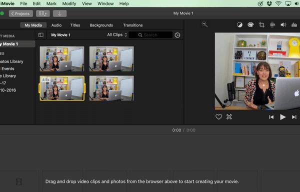 Ziehen Sie in iMovie Ihre Videoclips per Drag & Drop aus dem Browser auf die Timeline unten.