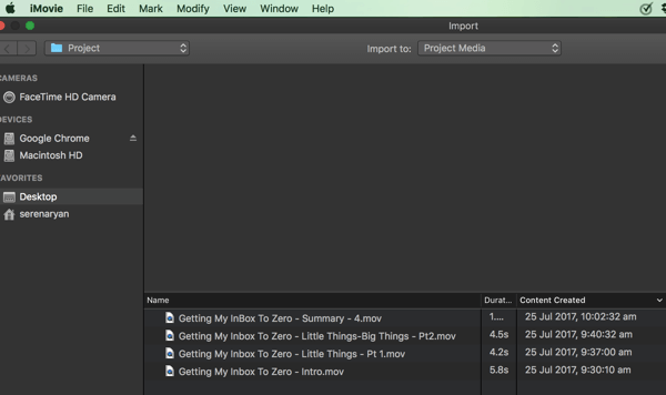 Importieren Sie Clips in Ihr iMovie-Projekt.