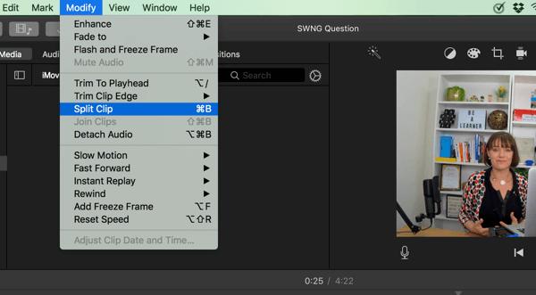 """Teilen Sie Ihr Video in iMovie in Segmente auf, indem Sie Ändern></img> Clip teilen wählen."""" width=""""600″ height=""""331″ class=""""native-lazyload-js-fallback"""" src=""""https://www.socialmediaexaminer.com/wp-content/uploads/2017/08/sr-split-clip-1.png""""><noscript><img loading="""
