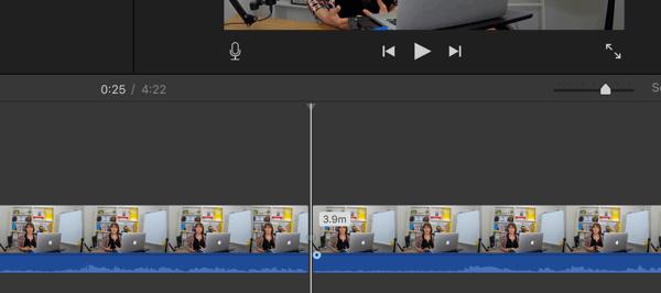 Eine durchgezogene Linie in Ihrer iMovie-Zeitleiste zeigt eine Aufteilung an.