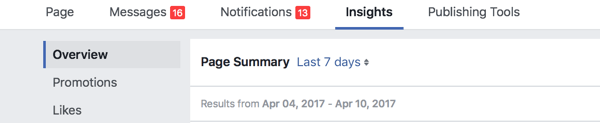 Go to your Facebook page and click the Insights tab.