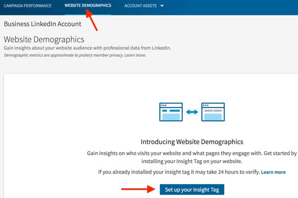 Wechseln Sie zur Registerkarte Website-Demografie, um Ihr Insight-Tag einzurichten.