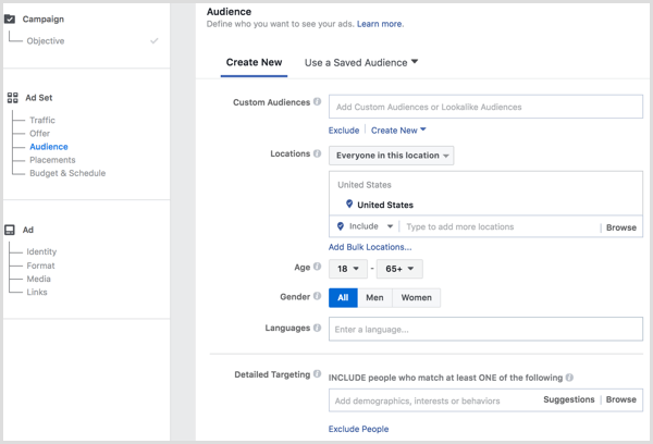 Facebook Advertising manager create audience in ad set