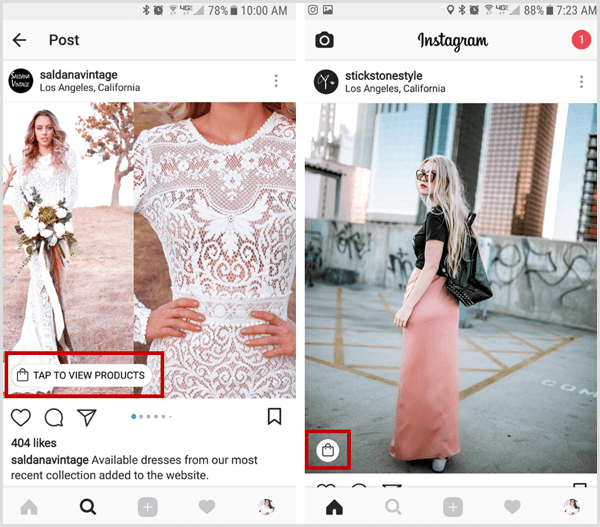 instagram shoppable post shopping bag icon in feed