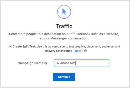 Facebook ad split test