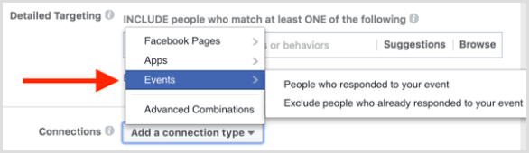 Facebook ad targeting connections include exclude people who responded to event