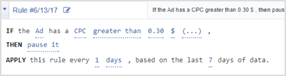 Facebook Ads Manager automated rule cpc greater than