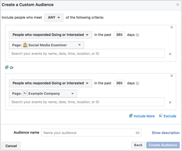 Facebook Ads Manager create custom audience based on event engagement