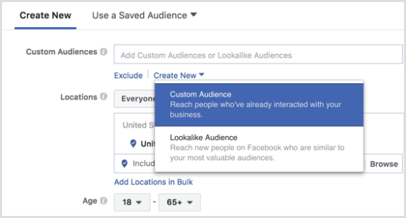 Facebook Ads Manager create custom audience during ad setup